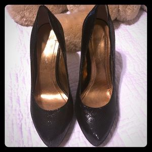 BCBG Platform Black Glitter Heels